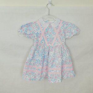 Vintage Floral Girls Dress 3T Apron Short Sleeve